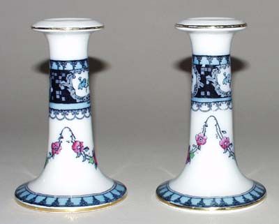 Keeling Unidentified Pattern colour Candlesticks Pair c1920s