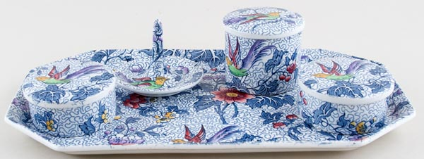 Keeling Unidentified Pattern blue with colour Dressing Table Set c1930