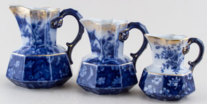 Jugs or Pitchers Set of Three octagonal c1900