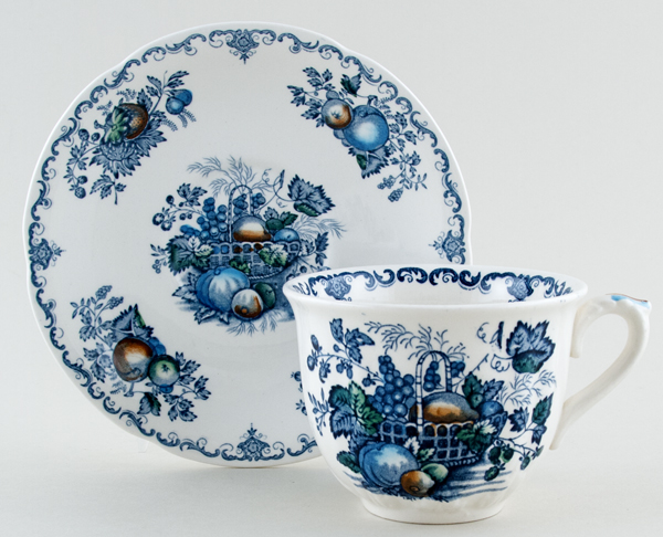 Masons Fruit Basket blue with colour Teacup and Saucer