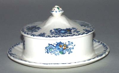Masons Fruit Basket blue with colour Butter Dish with Cover c1930s