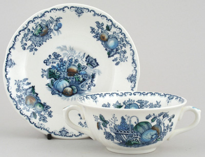 Masons Fruit Basket blue with colour Soup Cup and Saucer