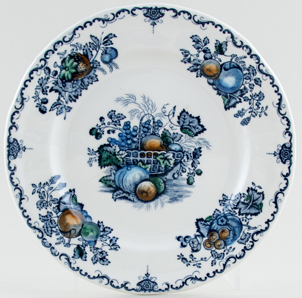 Masons Fruit Basket blue with colour Plate