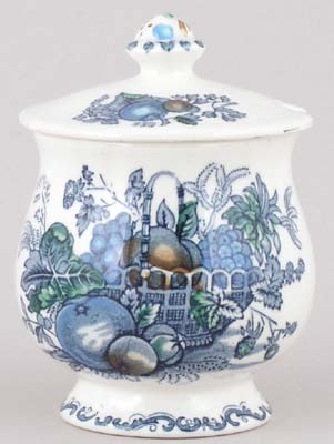 Masons Fruit Basket blue with colour Jam or Preserve Pot c1970s