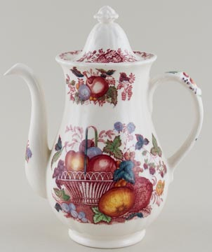 Masons Fruit Basket red with colour Coffee Pot c1950