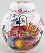 Masons Fruit Basket red with colour Ginger Jar c1950s