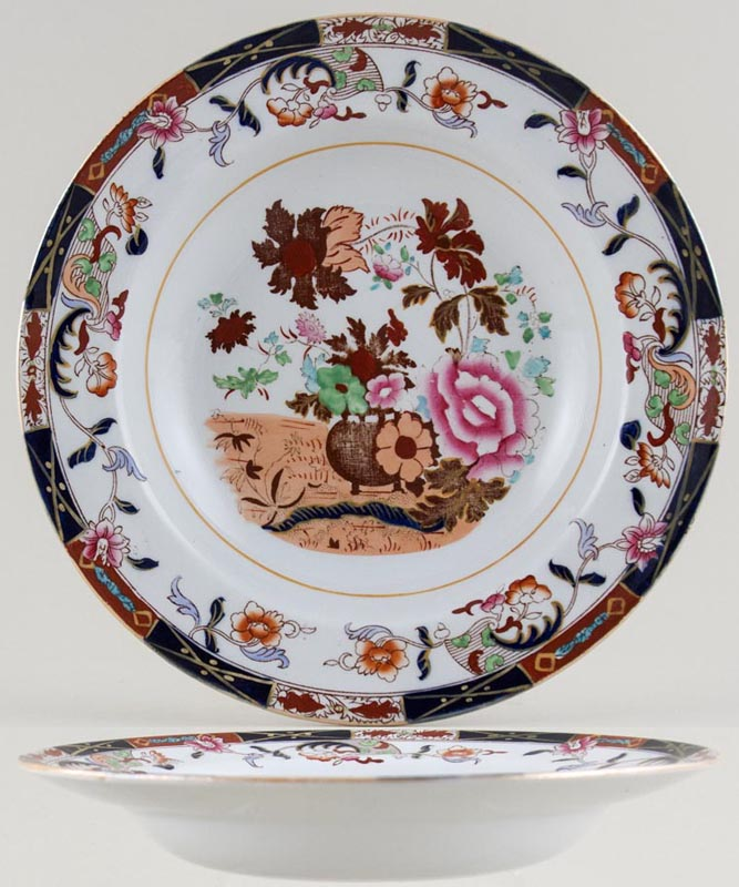Masons Urn and Flowers colour Soup Plate c1890