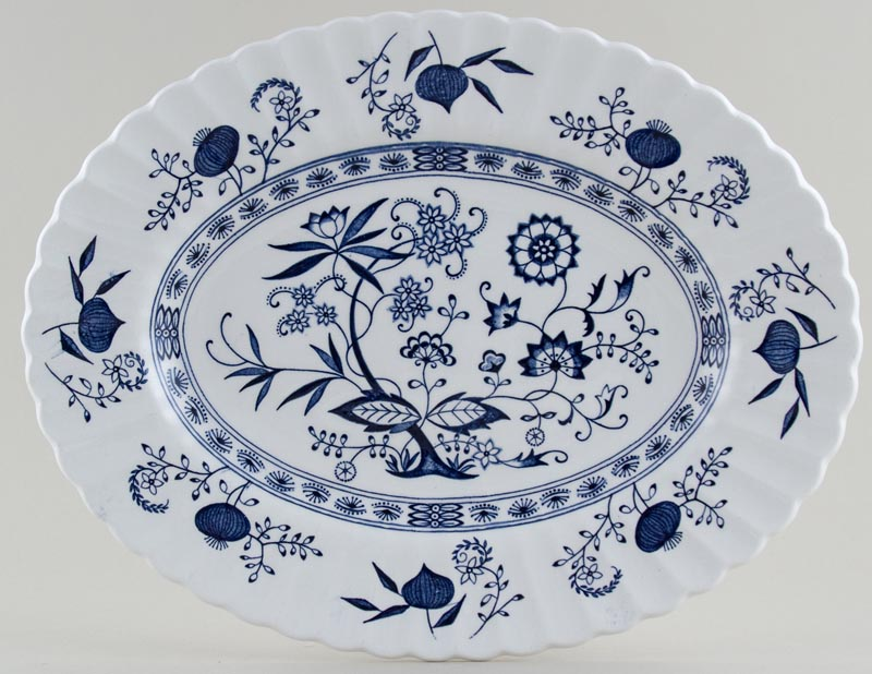 Meakin J and G Blue Nordic Meat Dish or Platter c1960s