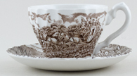 Meakin Alfred The Post House brown Teacup and Saucer c1970