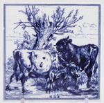 Tile c1880 Cattle