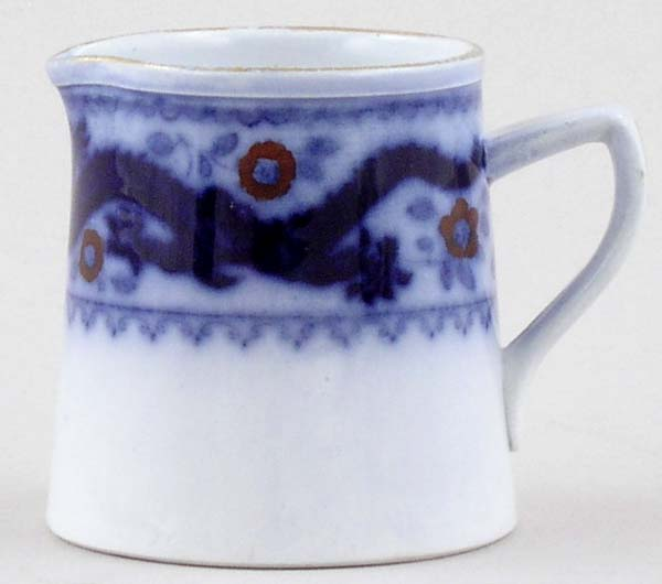 Minton Chinese Dragon and Bird blue with colour Creamer or Jug small c1920