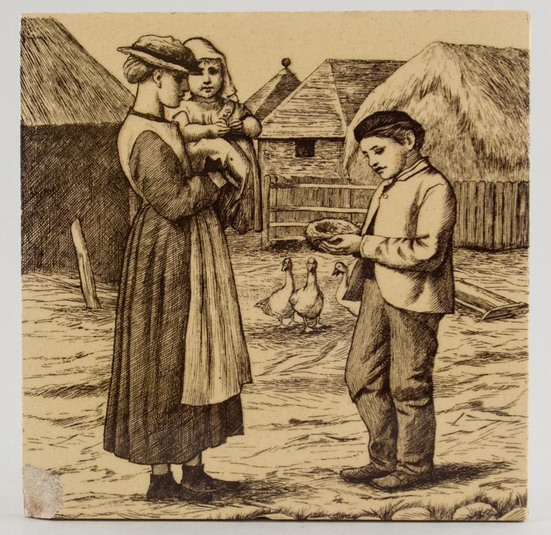 Minton Village Life brown Tile c1880