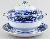 Minton Chinese Dragon and Bird blue with colour Sauce Tureen c1926
