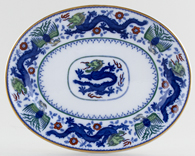 Minton Chinese Dragon and Bird blue with colour Platter small c1925