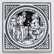 Minton Shakespeare Series black Tile Much Ado About Nothing c1880