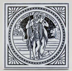 Minton Shakespeare Series black Tile Troilus and Cressida c1880