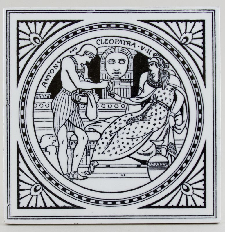 Minton Shakespeare Series black Tile Antony and Cleopatra c1880