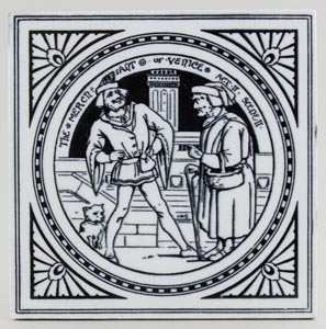 Minton Shakespeare Series black Tile The Merchant of Venice c1880