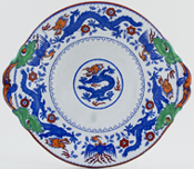 Minton Chinese Dragon and Bird blue with colour Sauce Tureen Stand c1930