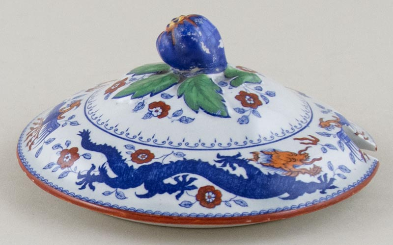 Minton Chinese Dragon and Bird blue with colour Sauce Tureen Cover c1930