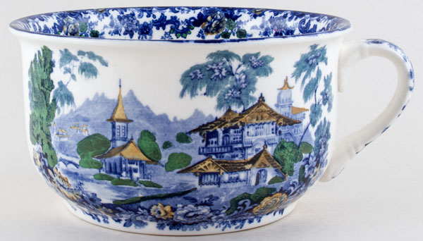 Minton Genevese blue with colour Chamber Pot c1895