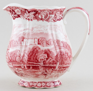 Palissy Thames River Scenes pink Jug or Pitcher Henley c1950s