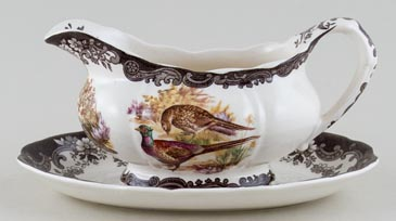 Palissy Game Series brown with colour Sauce Boat with Stand c1970