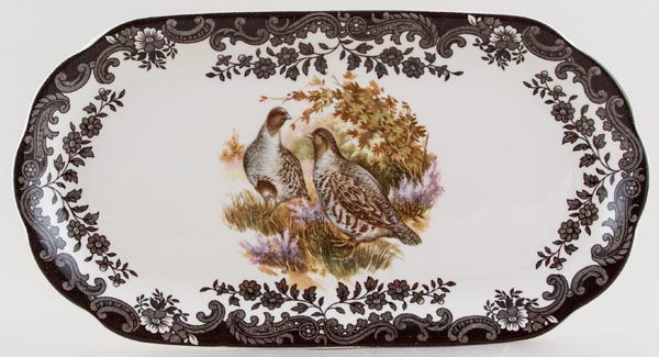 Palissy Game Series brown with colour Sandwich Tray Partridge c1980