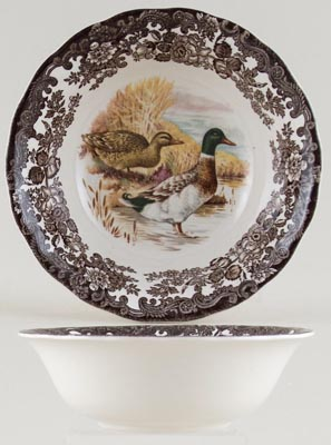 Palissy Game Series brown with colour Cereal or Dessert Bowl Mallards c1970