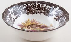 Palissy Game Series brown with colour Cereal or Dessert Bowl Pheasants c1970
