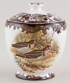 Palissy Game Series brown with colour Preserve Pot c1970
