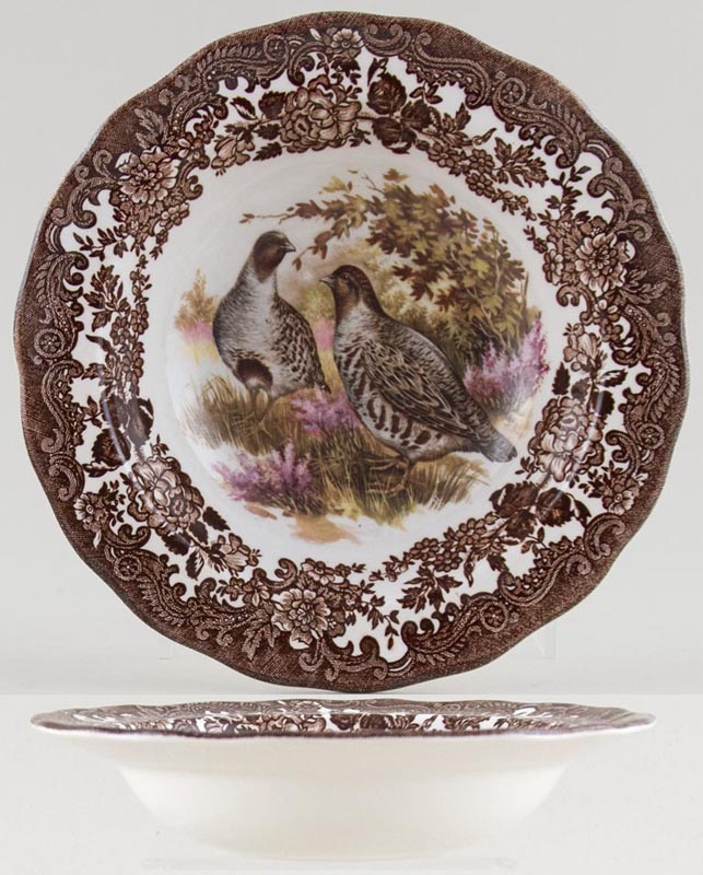 Palissy Game Series brown with colour Cereal Bowl or Dessert Bowl with rim Partridge c1970