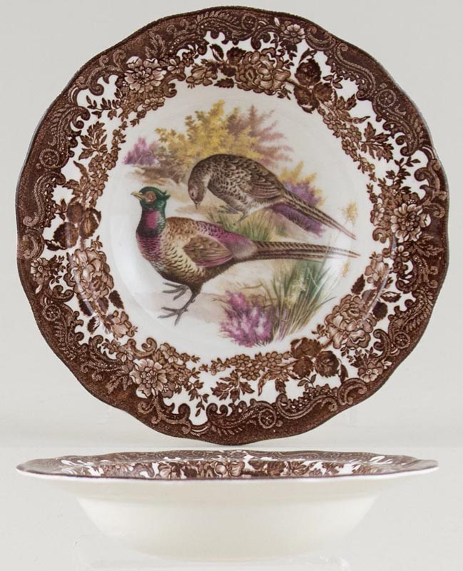 Palissy Game Series brown with colour Cereal or Dessert Bowl with Rim Pheasants c1970