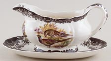 Palissy Game Series brown with colour Sauce Boat and Stand c1970