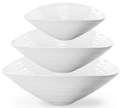 Portmeirion Sophie Conran White Fruit or Salad Bowls Set of 3