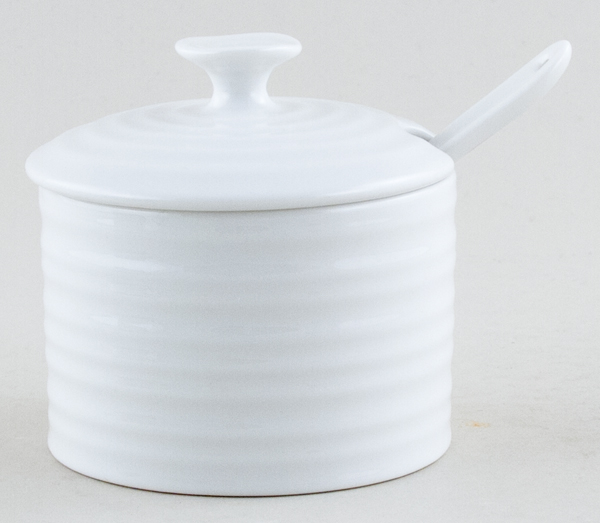 Portmeirion Sophie Conran White Jam Pot with Spoon