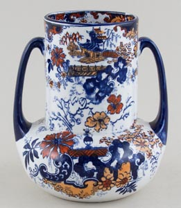 Ridgway Chinese Japan blue with colour Vase c1900