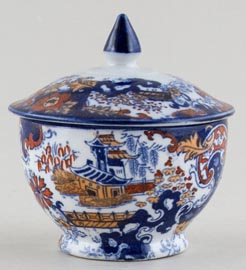 Ridgway Chinese Japan blue with colour Trinket Box c1900