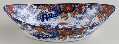 Ridgway Chinese Japan blue with colour Dish boat shape c1900