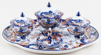 Ridgway Chinese Japan blue with colour Dressing Table Set part c1915