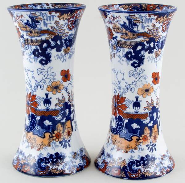 Ridgway Chinese Japan blue with colour Vases pair of c1900