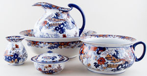 Ridgway Chinese Japan blue with colour Toilet Set c1900