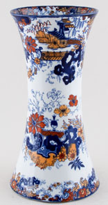 Ridgway Chinese Japan blue with colour Vase large c1900