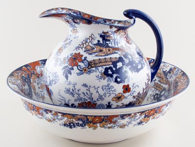 Ridgway Chinese Japan blue with colour Ewer and Bowl c1900