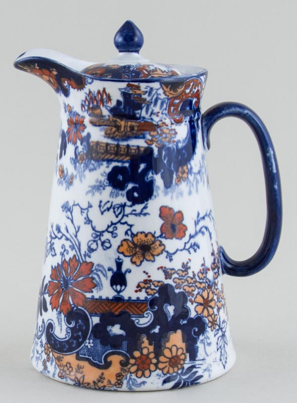 Ridgway Chinese Japan blue with colour Hot Water Jug c1900