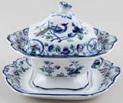 Hancock Sampson Old Woodstock colour Sauce Tureen c1920s