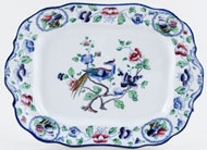 Hancock Sampson Old Woodstock colour Meat Dish or Platter small c1920s