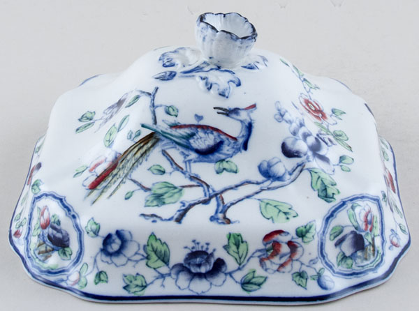 Hancock Sampson Old Woodstock colour Vegetable Dish Lid c1920s