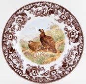 Spode Woodland brown with colour Dinner Plate Red Grouse