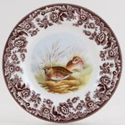 Spode Woodland brown with colour Side or Cheese Plate Quail